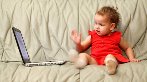baby and laptop Stock Video Footage