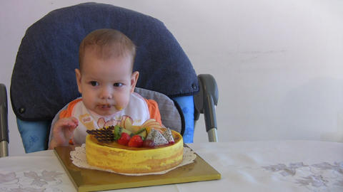 baby boy eating cake Stock Video Footage