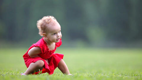 Baby in red dress Stock Video Footage