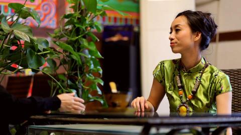 Asian woman speaking Stock Video Footage