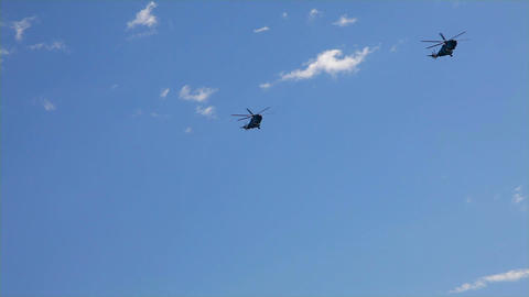 helicopters and choppers parade Stock Video Footage