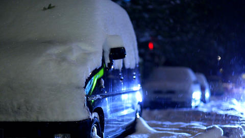Snow-covered Cars Stock Video Footage