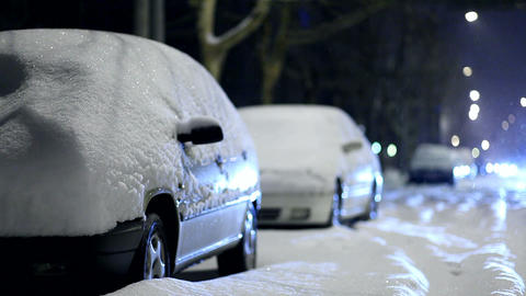 cars covered by snow Footage
