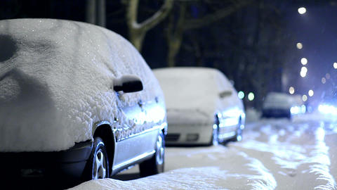 cars covered by snow Stock Video Footage