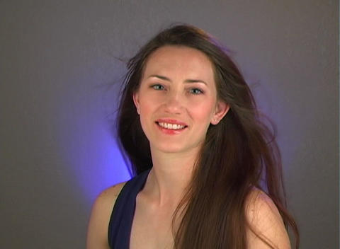 Close-up of a Beautiful Young Brunette (1) Stock Video Footage