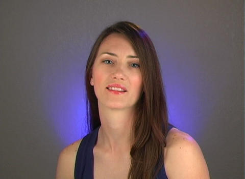 """Beautiful Young Brunette Shakes Her Head """"No"""" Stock Video Footage"""