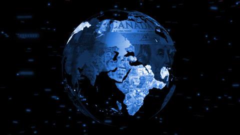 Globe Money Flags Treated Stock Video Footage