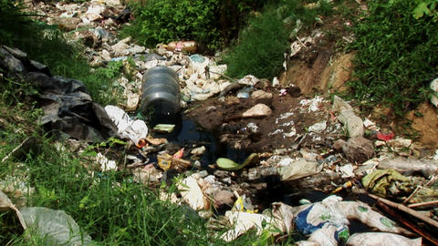 Pull Out of Dump Rubbish Favela Stock Video Footage