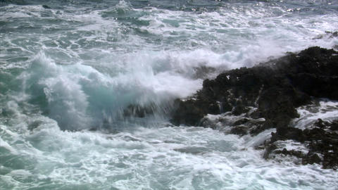 rough wave cliff slowmo Stock Video Footage