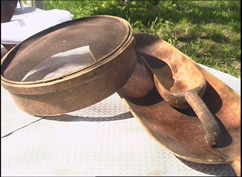 table full of russian village utensils Stock Video Footage