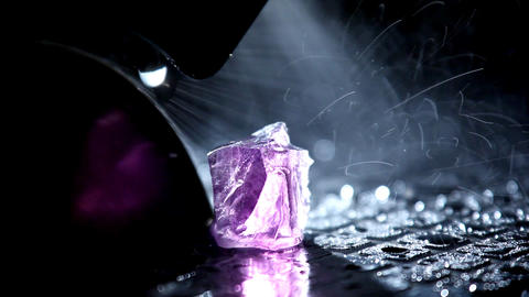 Cutting gem - macro with water Stock Video Footage
