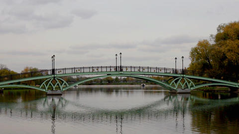 Bridge over water in park with mirror Stock Video Footage