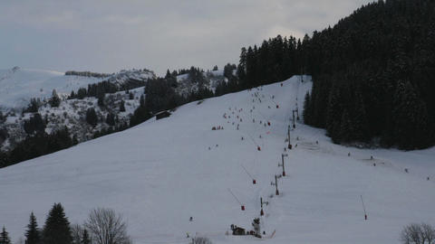 Time lapse of skiing people Stock Video Footage