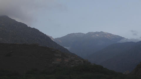 Clouds around a mountain Stock Video Footage