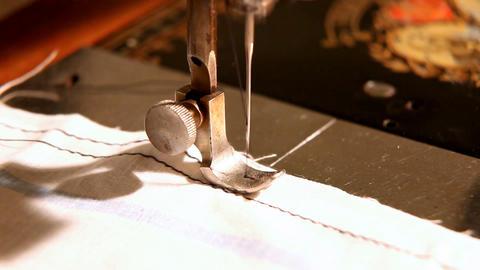 stitching machine close-up sewing process Stock Video Footage