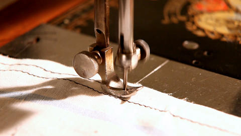stitching machine close-up sewing process Footage
