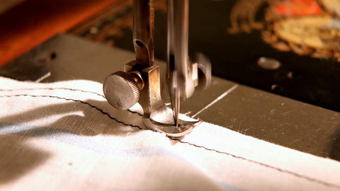 stitching machine close-up sewing process Stock Video Footage