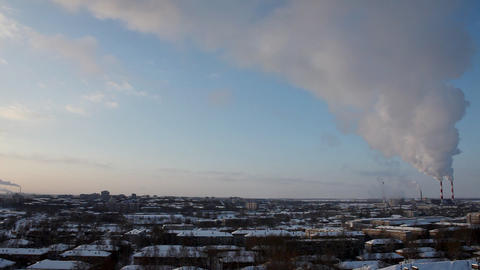 Pipe with smoke at winter sunrise Stock Video Footage