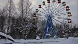Pan From Carousel To Sky In Winter Park stock footage