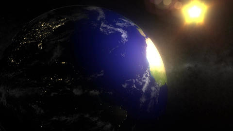 (1156) Looping earth rotation sun space moonlight... Stock Video Footage