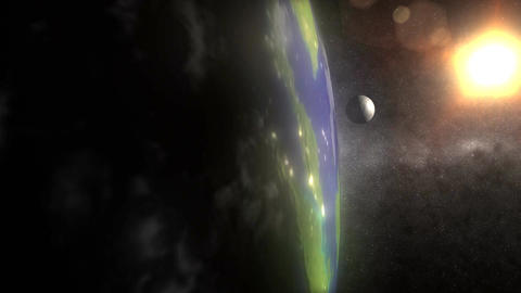 (1160) Spinning Earth Low Orbit Sun Space Moon Night City... Stock Video Footage