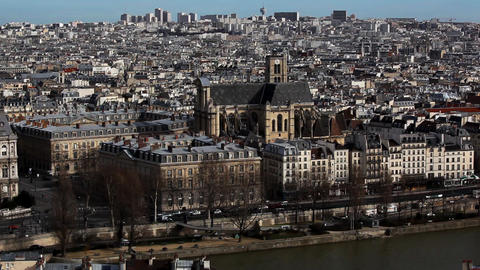 View on city from Notre Dame de Paris Footage