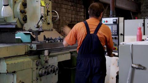 Man work with machine drill Footage