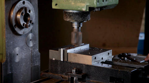 Machine drill work with metal close up 2 Stock Video Footage
