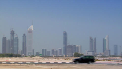 black jeep crossing dubai skyline Footage