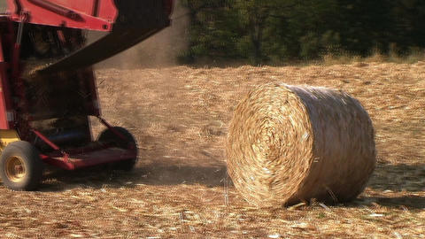 Round Baler in Action Stock Video Footage