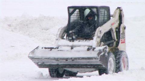 Bobcat Plowing Snow Stock Video Footage