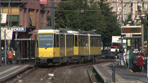 View of a Tram Station in Berlin Germany Live Action