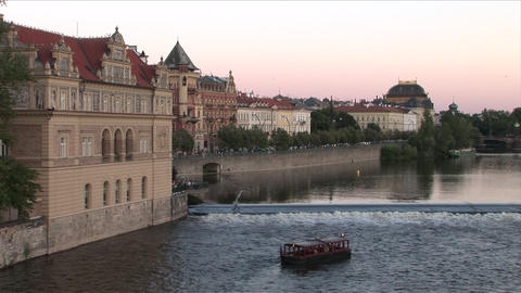 View Of A Riverside Restaurant In Prague Czech Rep stock footage