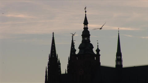 Close view of St. Vitus Cathedral in Prague Czech  Live Action