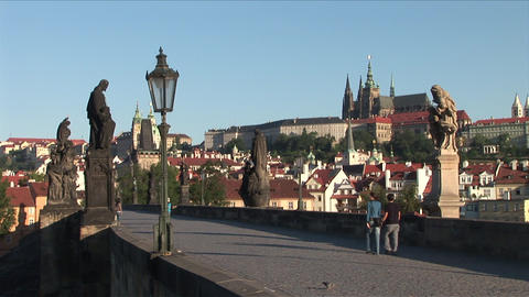 Statue monuments on Old Town Bridge in Prague Czec Footage
