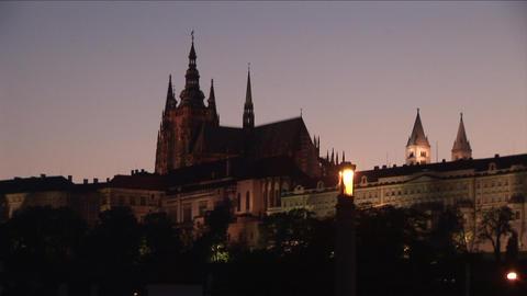 Prague Castle at night in Prague Czech Republic Footage