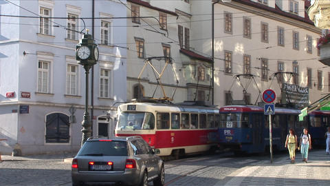 View of a Street Clock in City Street of Prague Cz Footage