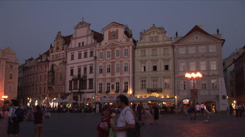 Old Town Square at night in Prague Czech Republic Live Action