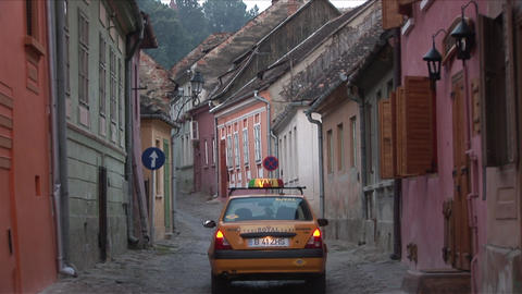 Narrow Road In Sighisoara Transylvania Romania stock footage