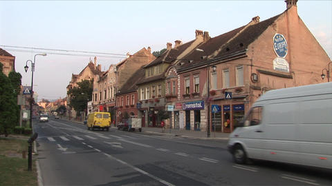 View Of Street In Sighisoara Transylvania Romania stock footage