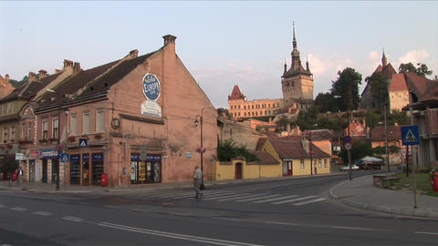View of Citadel Clock Tower in Sighisoara Transylv Footage