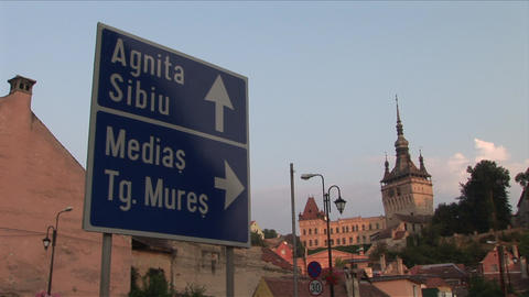 View of a signboard and Citadel Clock Tower in Sig Footage