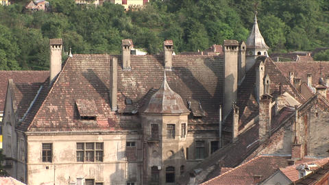 Old Buildings In Sighisoara Transylvania Romania stock footage
