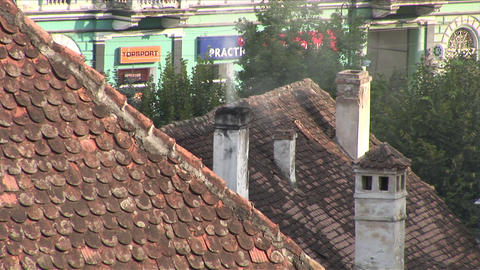 Smoke coming out of a chimney Sighisoara Transylva Footage