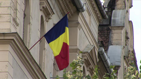 Romania Flag Flapping stock footage