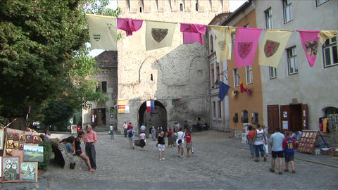 People walking in a walkway Sighisoara Transylvani Footage