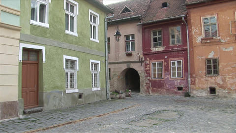 Cobble stoned pavement Sighisoara Transylvania Rom Footage