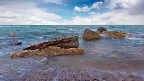 sea-piece. marine waves and cloudy sky Footage