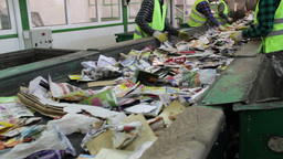 People sorting wastepaper at recycling plant Live Action