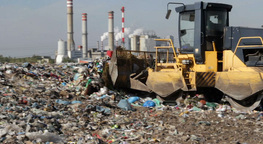 Bulldozer at garbage landfill 3 Footage